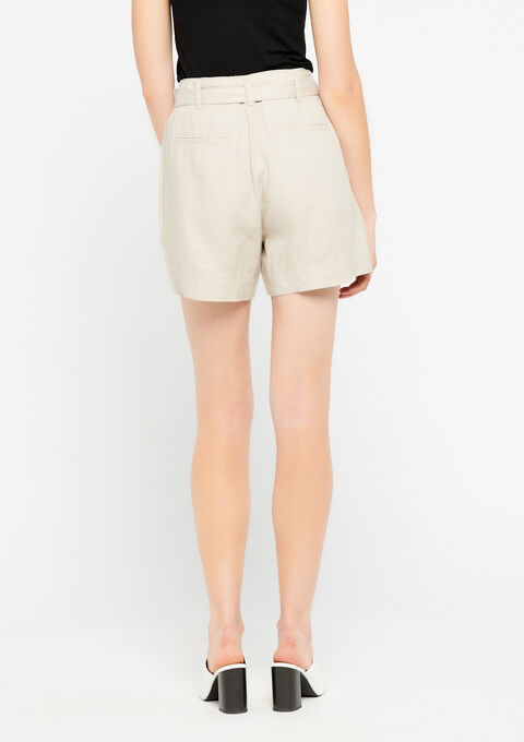 Short in linnen, riem - SIMPLE TAUPE - 06100168_1044