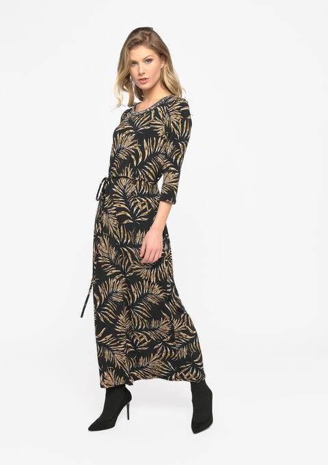 Maxi jurk met bladprint - BLACK BEAUTY - 08601080_2600