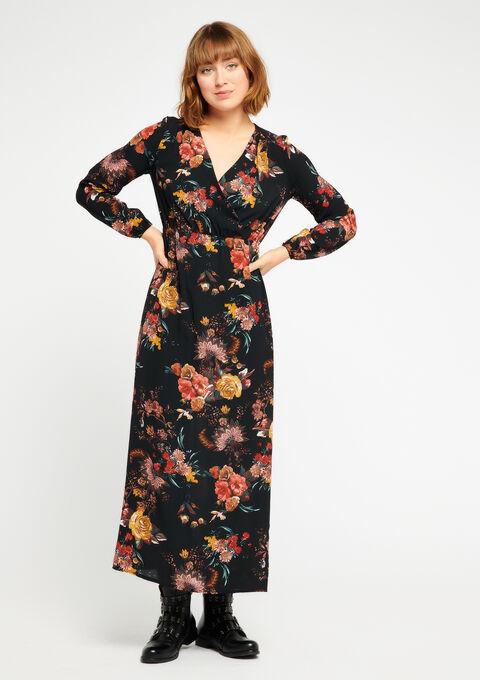 Robe longue avec fleurs, cache-coeur - BLACK - 08600073_1119