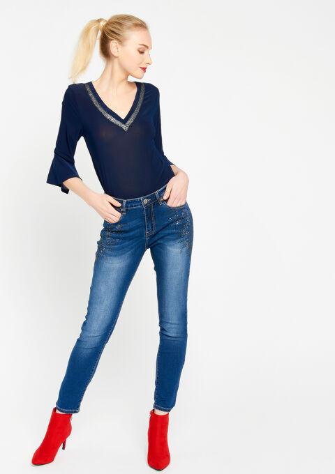 Effen t-shirt met v-hals - BLACK IRIS - 02300179_1667