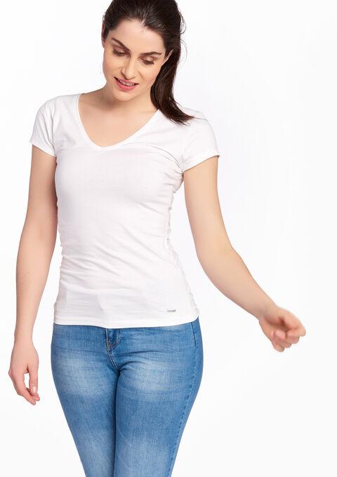 Basic T-shirt, V-hals - OPTICAL WHITE - 02005334_1019
