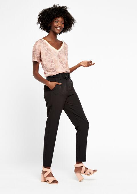 Elegante broek met riem - BLACK - 06100185_1119