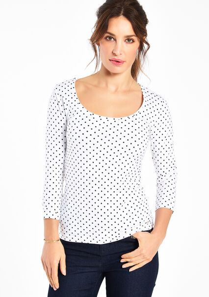 Strak t-shirt met print,  3/4 mouwen - OPTICAL WHITE - 02005341_1019
