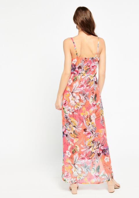 Maxi-jurk met bloemenprint - CORAL GERBERIA - 08600135_5405