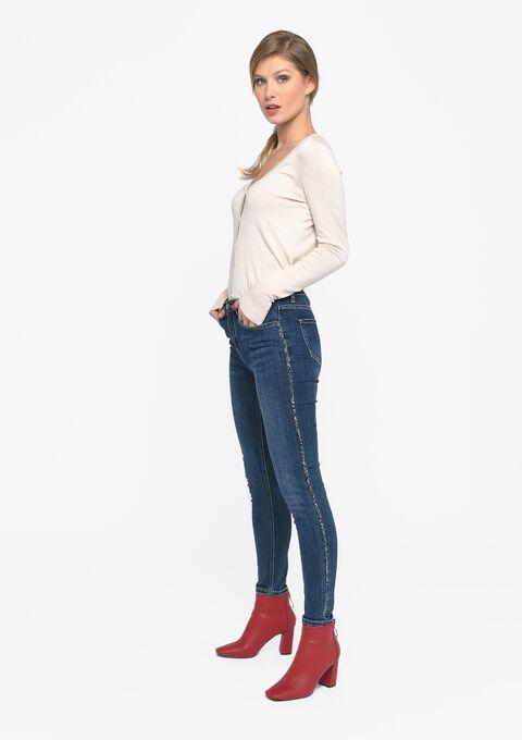 Skinny jeans met tape opzij - MEDIUM BLUE - 22000187_500