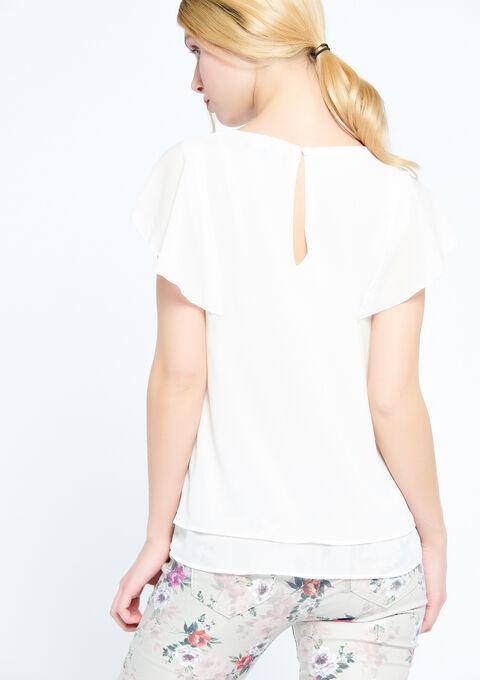 Blouse met korte mouwen en sierbies - WHITE ALYSSUM - 05700189_2502