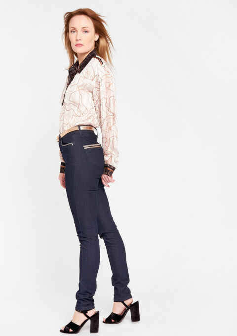 Jeans met hoge taille, riem - DARK BLUE - 22000029_501