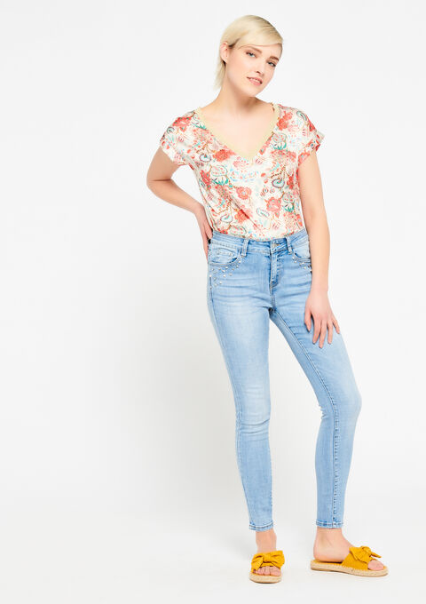 T-shirt met bloemenprint - PINK SPRINGY - 943243