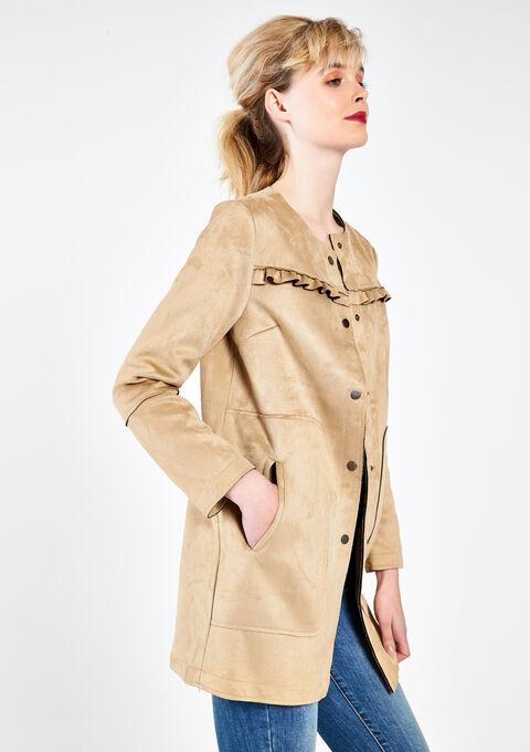 Manteau en suédine - BEIGE CORNSTALK - 12000535_4000