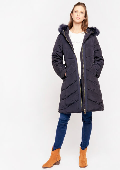Kneelength padded jacket - PEACOAT BLUE - 23000145_1655