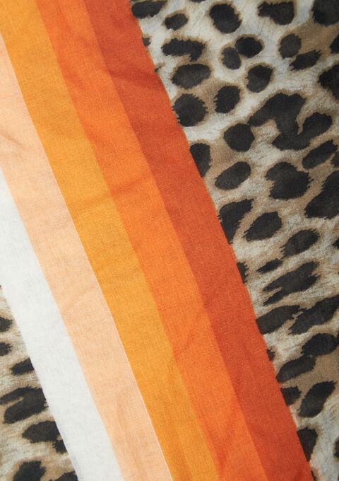 Striped scarf with leopard print - GOLDEN OCHER - 941030