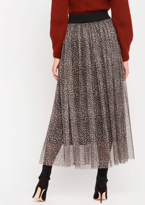 Maxi rok met luipaardprint - BEIGE BROWN - 07100594_4014