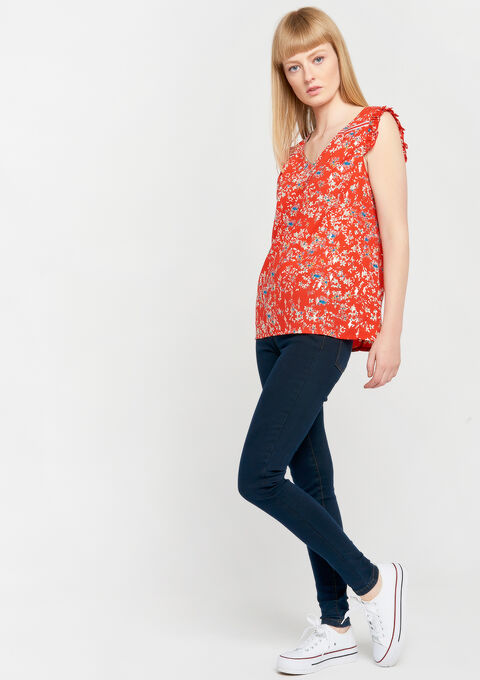 Blouse met bloemenprint - FLAME RED - 05700546_1309