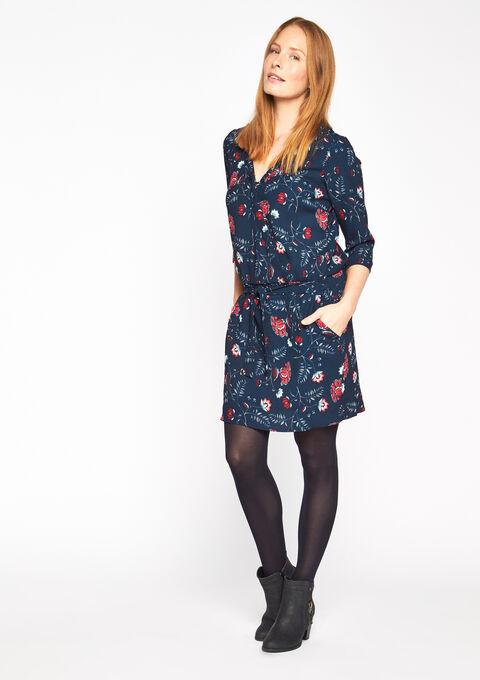 Geprinte jurk met wikkeleffect - NAVY MARINE - 08005342_1650
