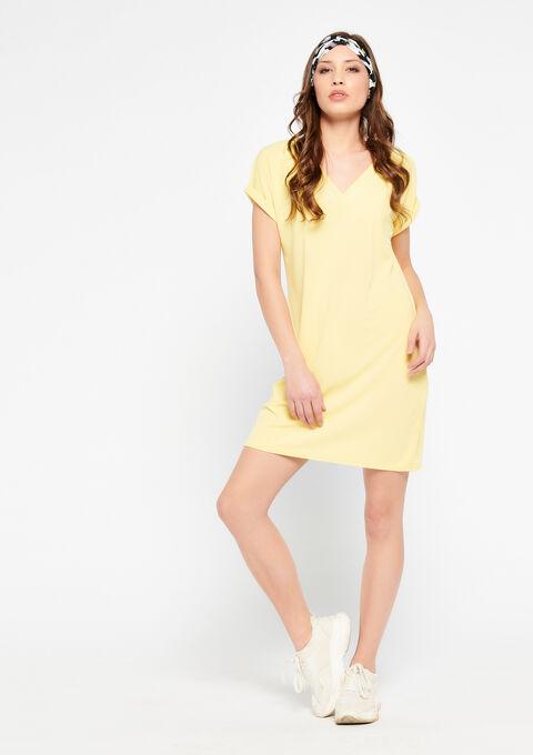 Rechte jurk met v-hals - YELLOW SUMMER - 08100667_1185