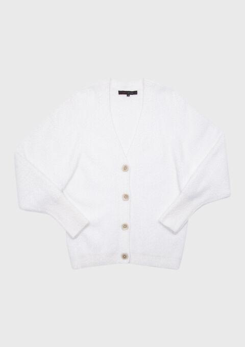Cardigan in breiwerk, knopen - WINTER WHITE - 04100617_1902