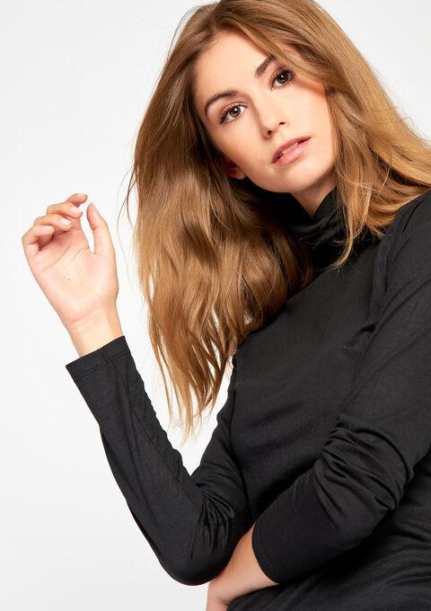 T-shirt met rolkraag & lange mouwen - BLACK - 905976
