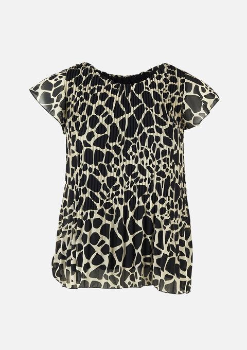 Blouse met giraffe print en plisse - OFFWHITE - 05701439_1001