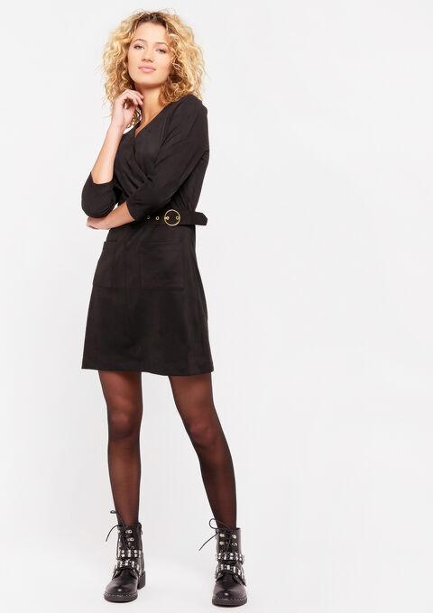 Mini jurk met imitatie-suede - BLACK - 08100725_1119