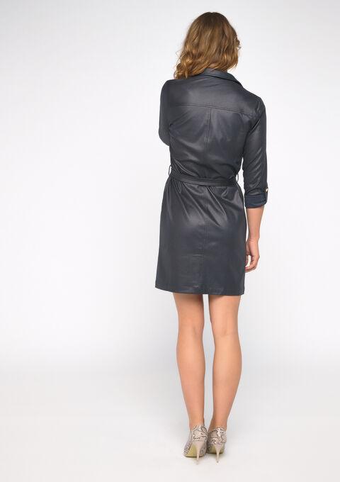 Hemd jurk met imitatiesuede - NAVY SHADOW - 08100720_2713