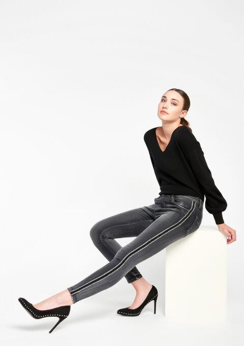 Skinny jeans  7/8  met streep opzij - DARK GREY - 06003716_931