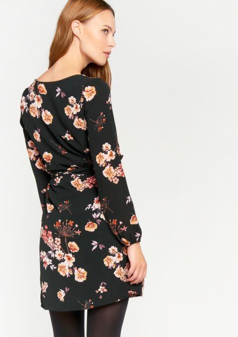 Bloemenjurk met lange mouwen - BLACK - 08100304_1119