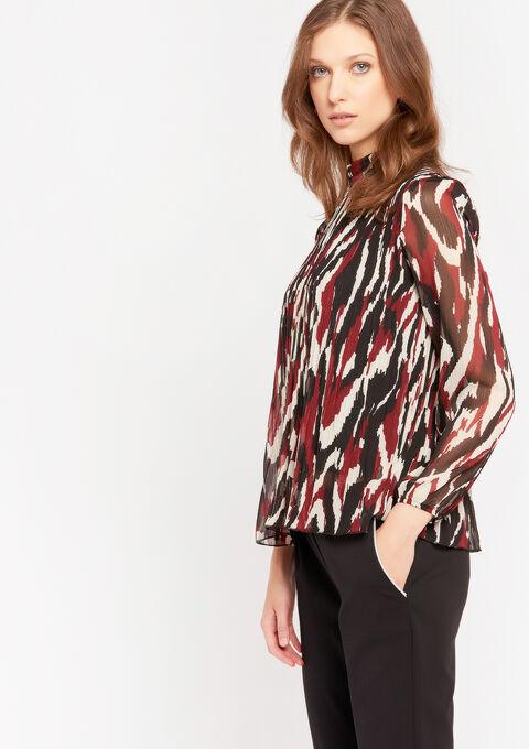 Plissé blouse met grafische print - BORDEAU BRIQUE - 05701274_5510