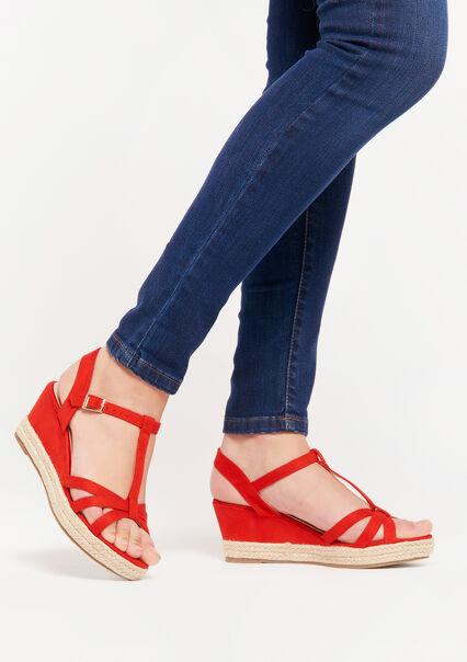 Sandalen met sleehak en riempje - RED INTENSE - 13000492_5315
