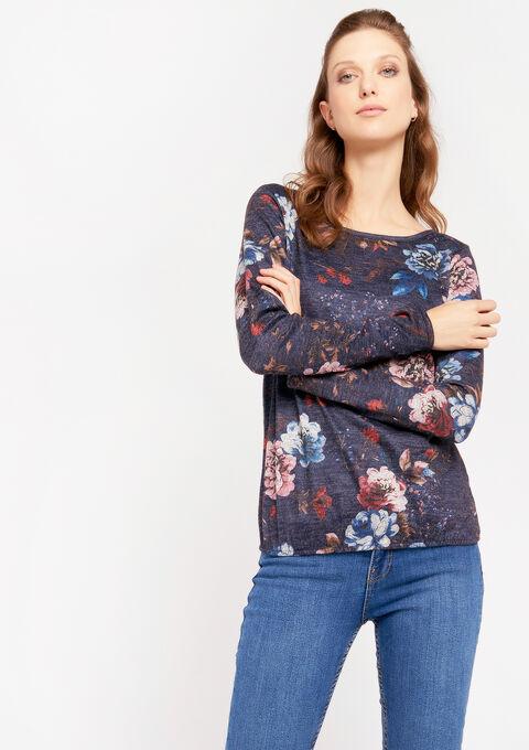 Sweater met bloemenprint - NAVY BLUE MEL - 03001424_1648