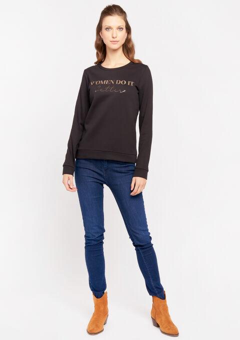 Sweater met slogan - BLACK - 03001440_1119