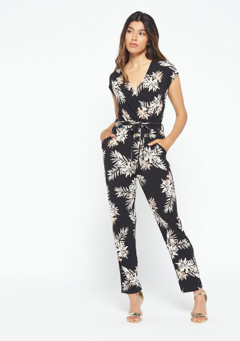 Jumpsuit bloemenprint - BLACK - 06003870_1119