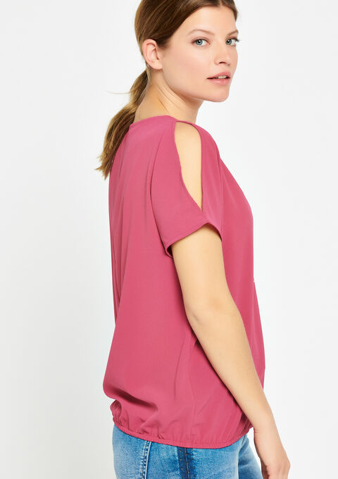 Blouse met open schouders & halsketting - FUCHSIA CHERRY - 927820