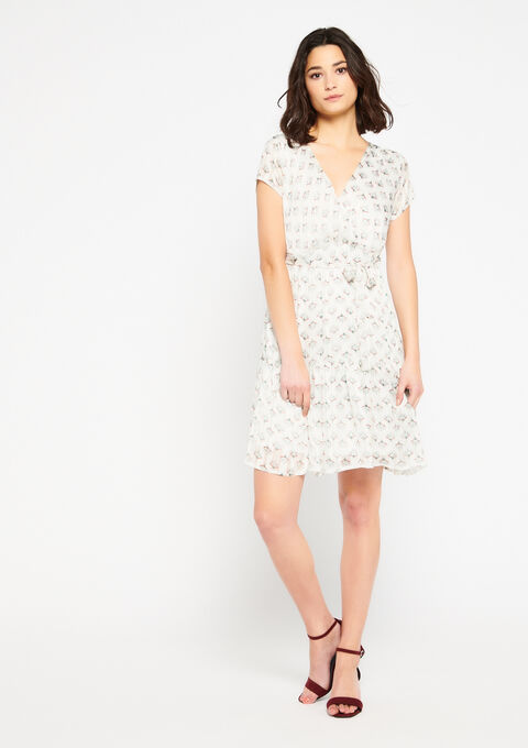 Floral skater dress - WHITE ALYSSUM - 08101186_2502