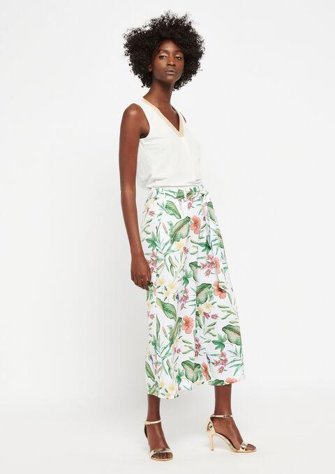 Culotte broek met bloemenprint - WHITE ALYSSUM - 06600074_2502