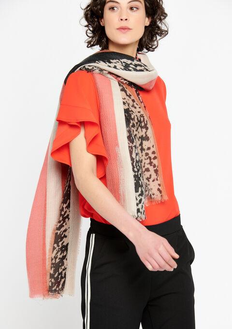 Sjaal met kleurblokken en dierenprint - CORAL EMBERGLOW - 930139