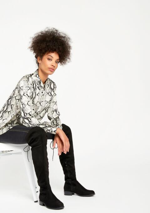 Satin shirt with python print - GREY CLOUDY MEL - 05700203_2036