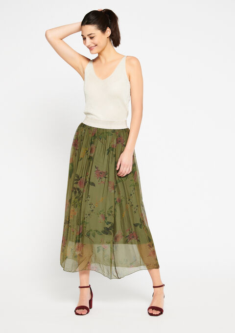 Lange zijden rok met print - KHAKI DARKY - 07100190_4208