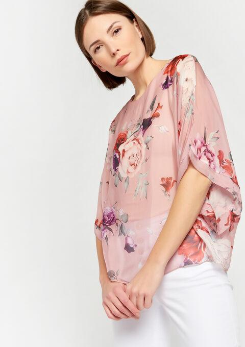 Wijde blouse in zijde - PINK ROSEA - 05700424_5716