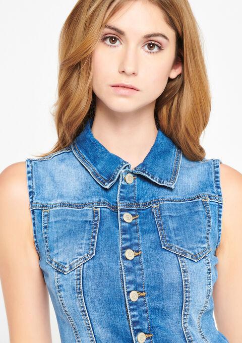 Short-salopette in jeans - MEDIUM BLUE - 22000139_500