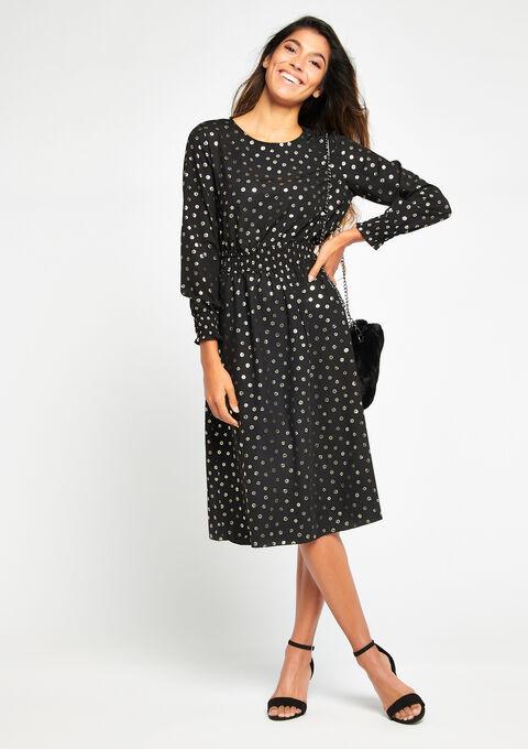 Robe avec imprimé brillant - BLACK - 08100422_1119