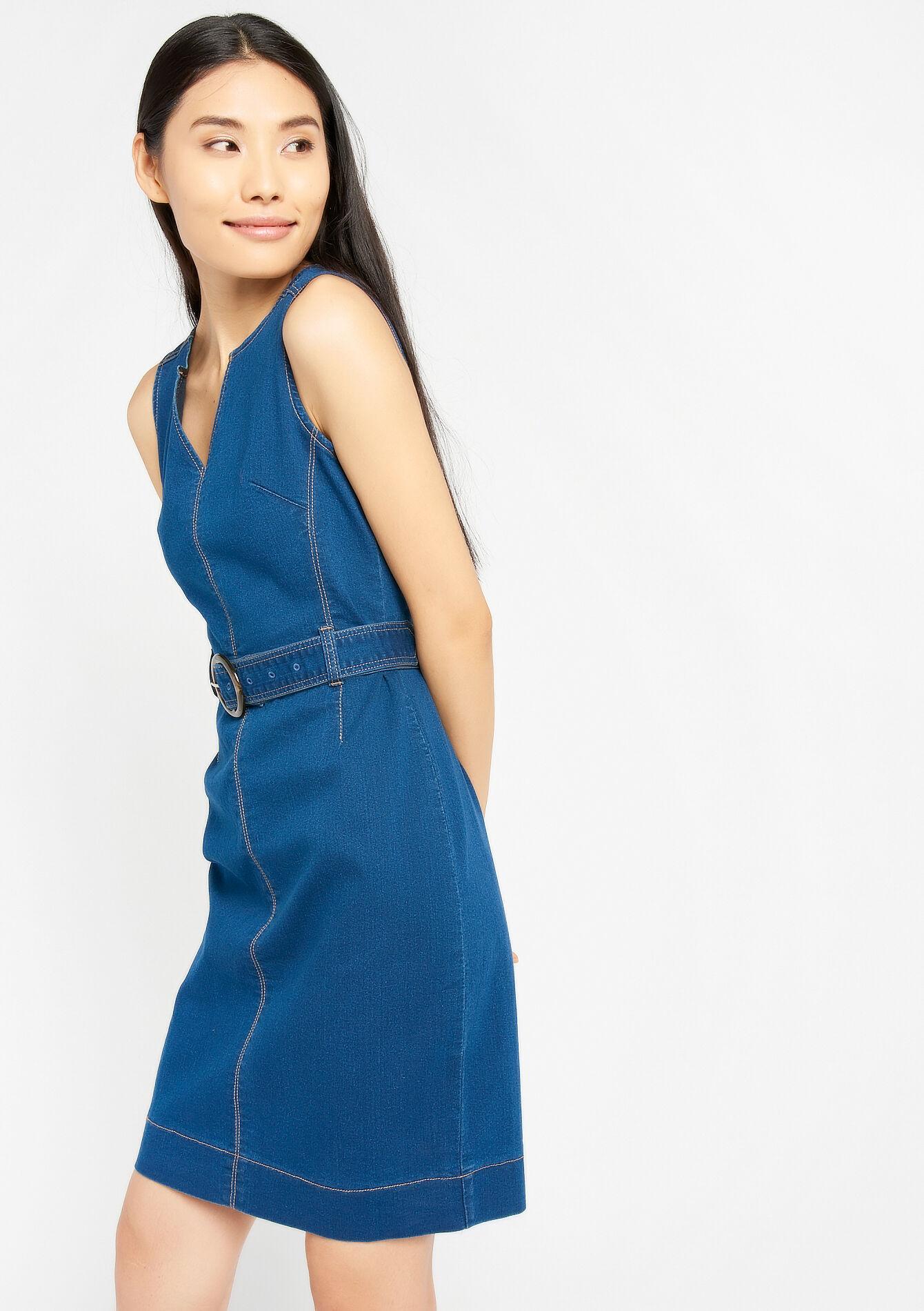 Jeansjurk zonder mouwen, riem LolaLiza