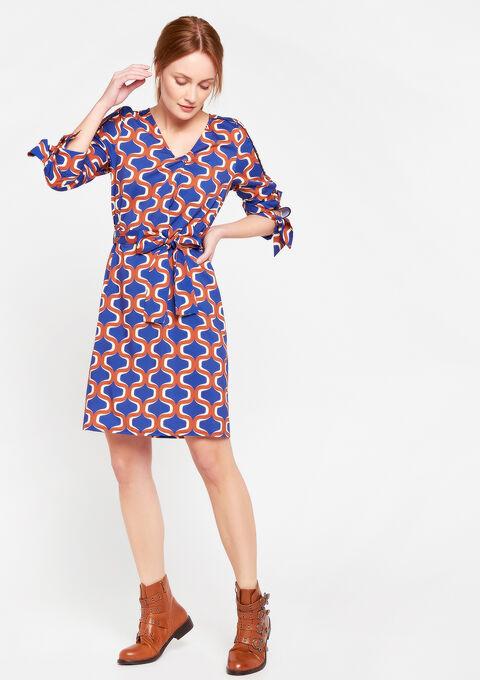 Rechte jurk met v-hals - BLUE ELECTRICAL - 08100574_2805