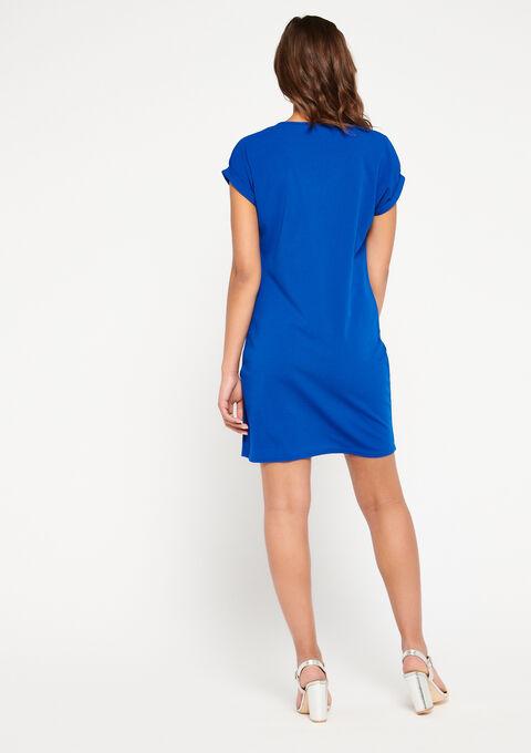 Robe droite, col-v - ELECTRIC BLUE - 08100667_1619