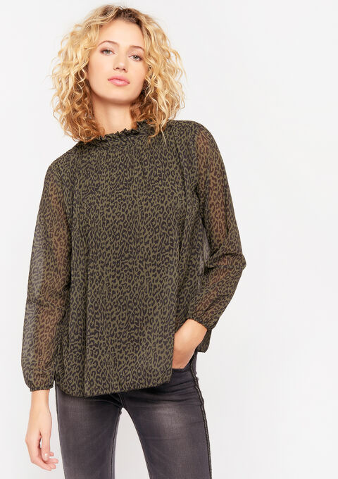 Plissé blouse met dierenprint - KHAKI CAMO - 05701243_1873