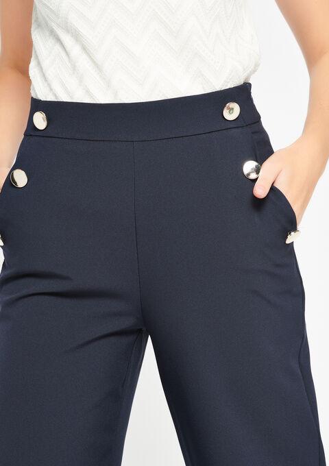 Verwonderlijk Wijde broek met hoge taille, knopen - LolaLiza KF-86