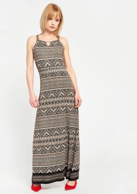 Lange jurk met exotische print - BLACK - 08600110_1119