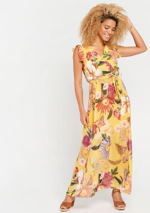 Lange jurk met bloemenprint - YELLOW SUMMER - 08600450_1185
