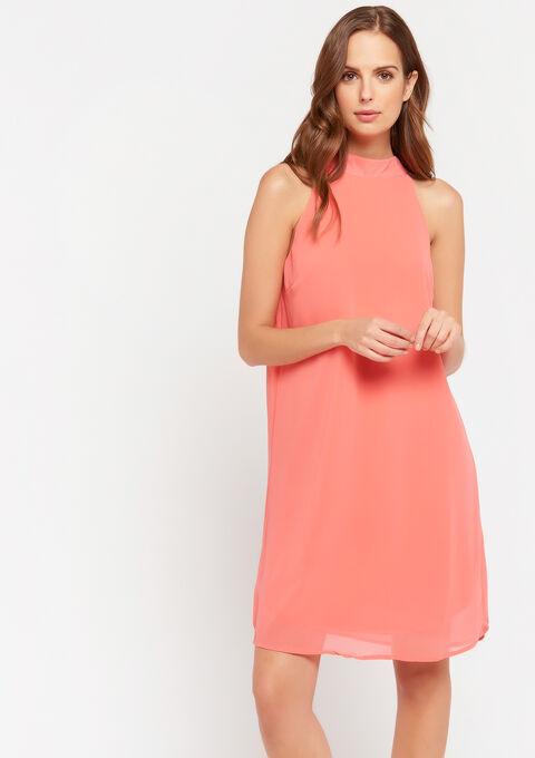 Midi jurk met doorschijnende stof - VIBRANT CORAL - 08102087_5408