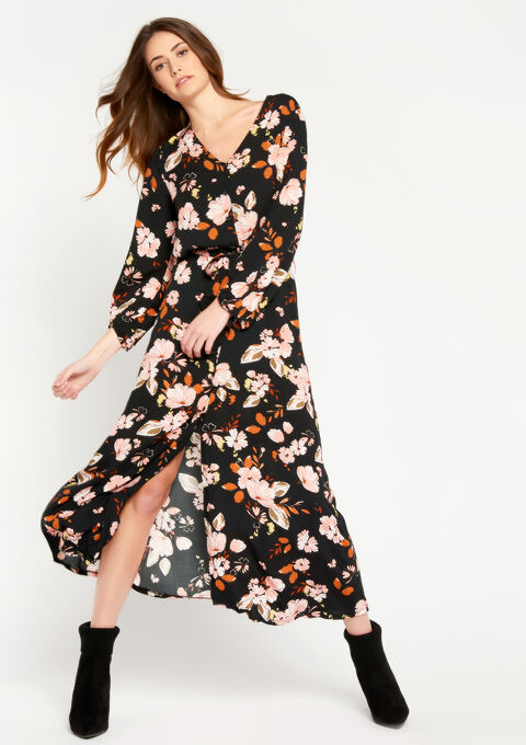 Maxi-jurk met bloemenprint - BLACK - 08600096_1119