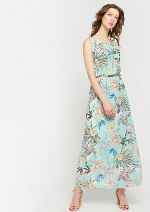 Lange jurk met bloemenprint - LIGHT AQUA - 08600124_1733